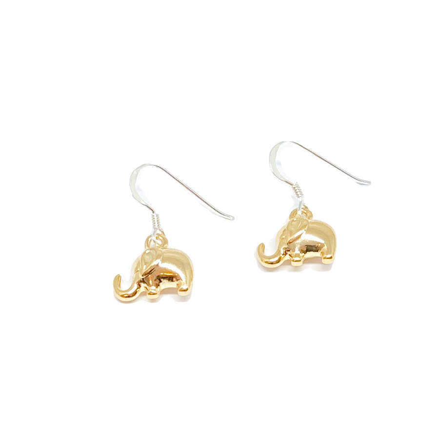 Daisy Elephant Earrings - Gold