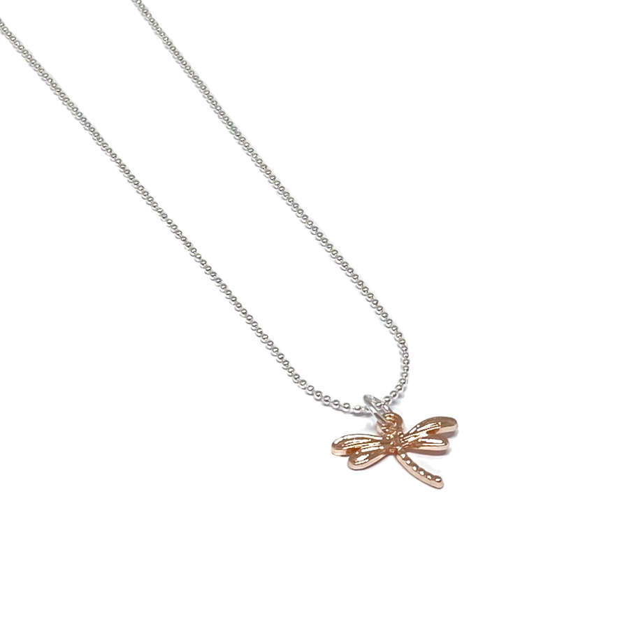 Daisy Dragonfly Necklace - Rose Gold