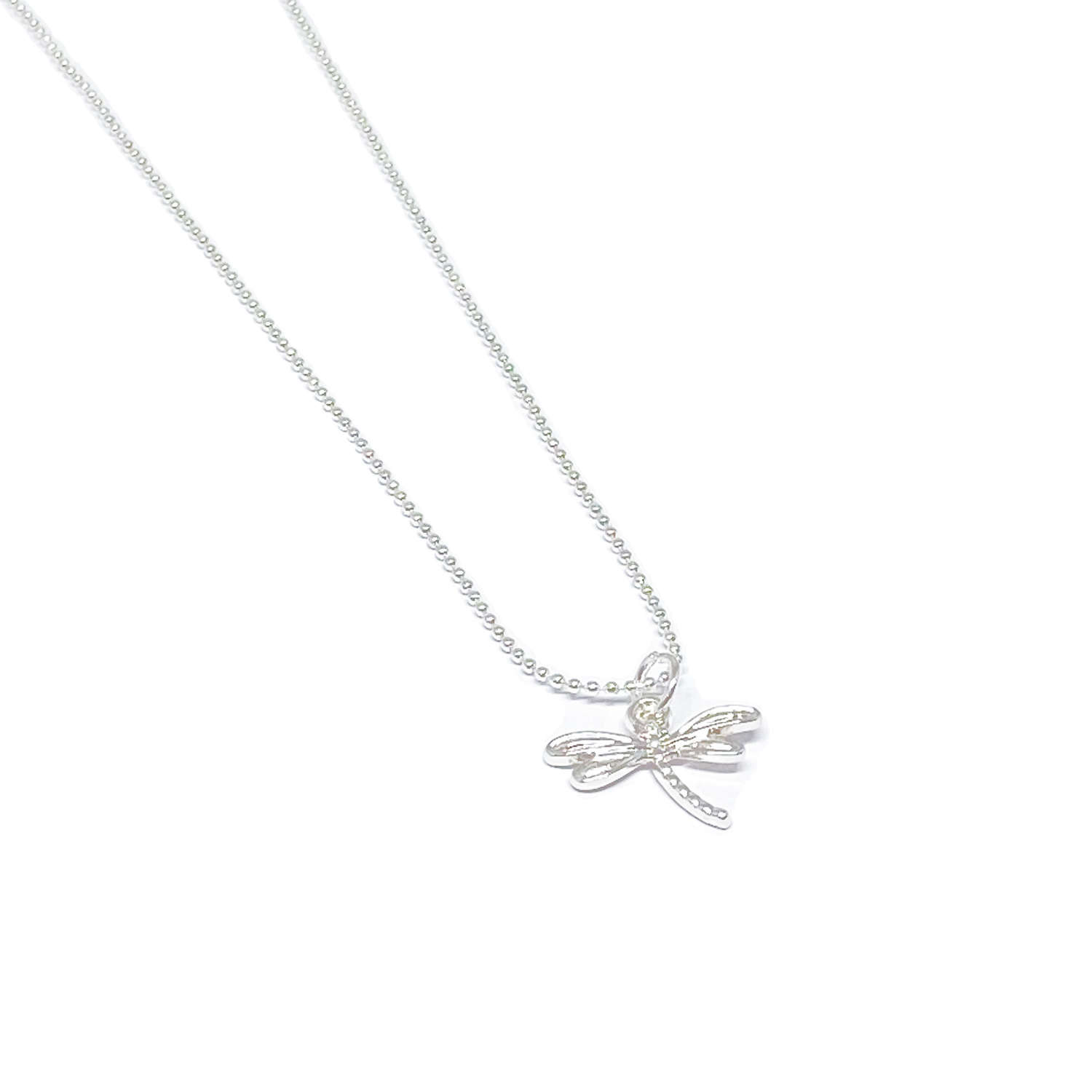 Daisy Dragonfly Necklace - Silver
