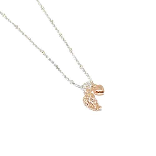 Sophia Angel Wing Necklace - Rose Gold
