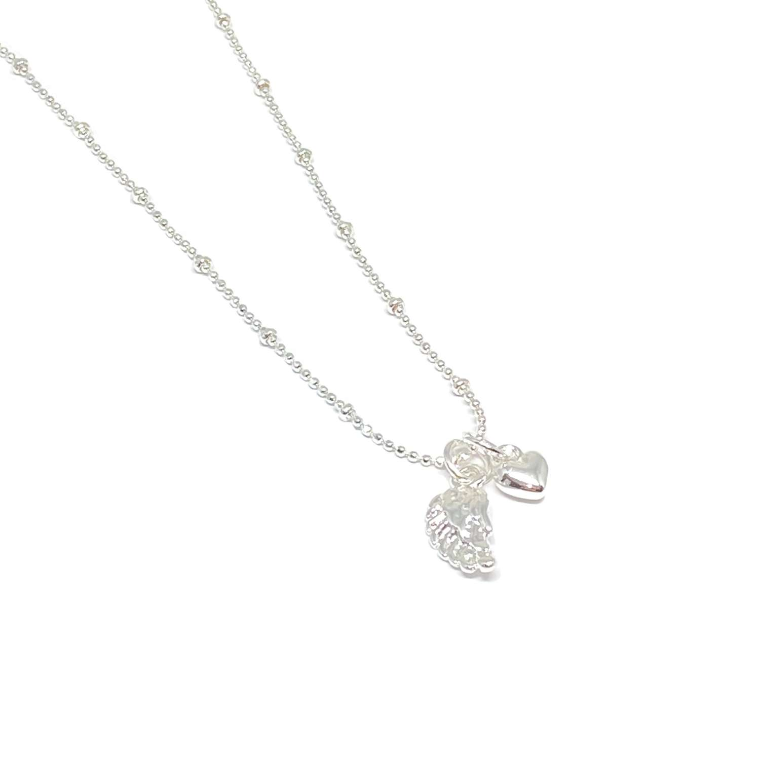 Sophia Angel Wing Necklace - Silver