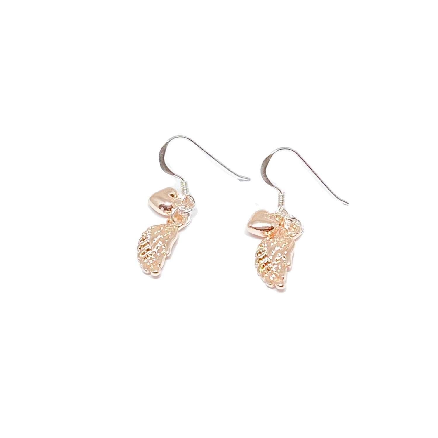 Sophia Angel Wing Earrings - Rose Gold