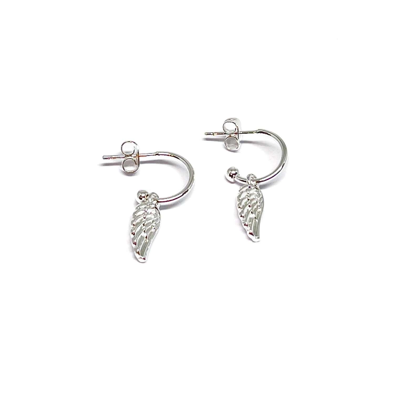 Sophia Angel Wing Earrings - Silver