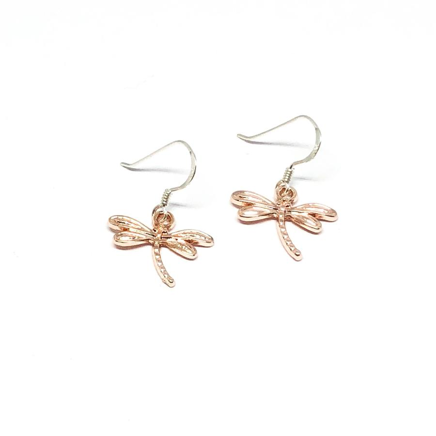 Daisy Dragonfly Earrings - Rose Gold