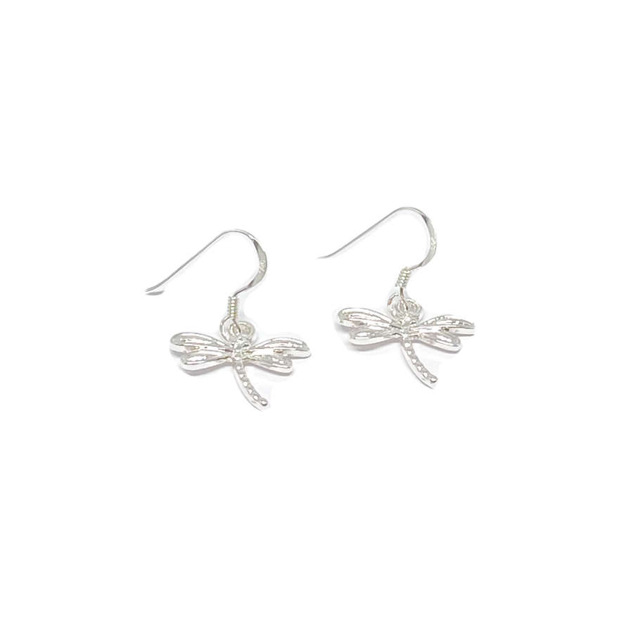 Daisy Dragonfly Earrings - Silver