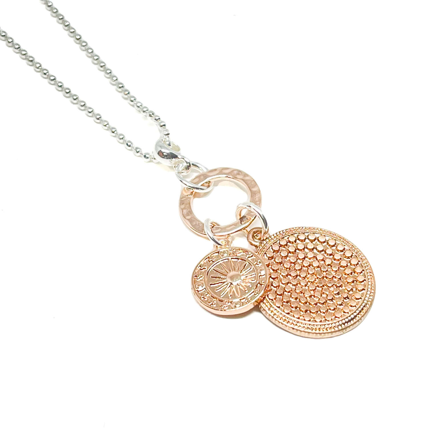 Petra Disc Charm Necklace - Rose Gold