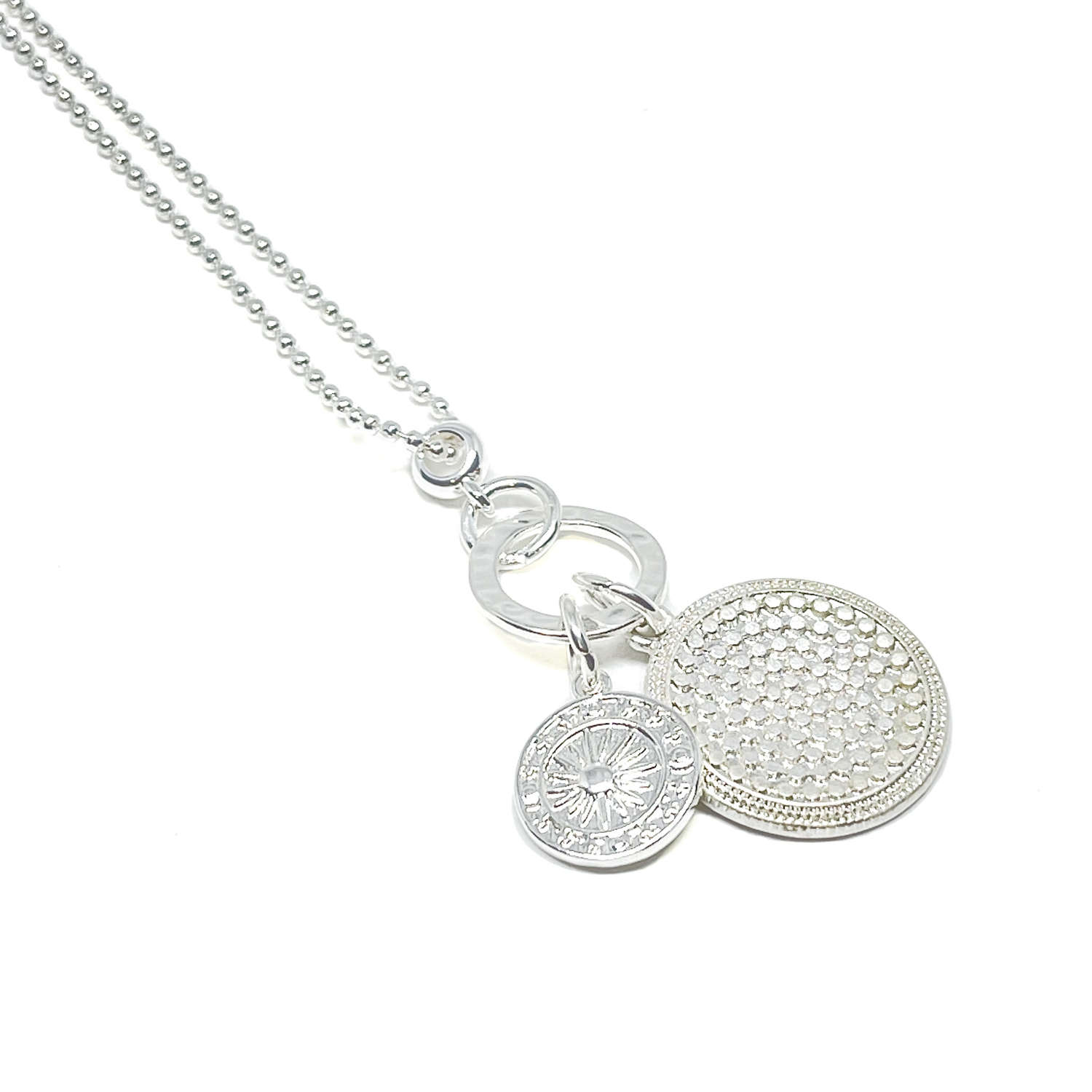 Petra Disc Charm Necklace - Silver