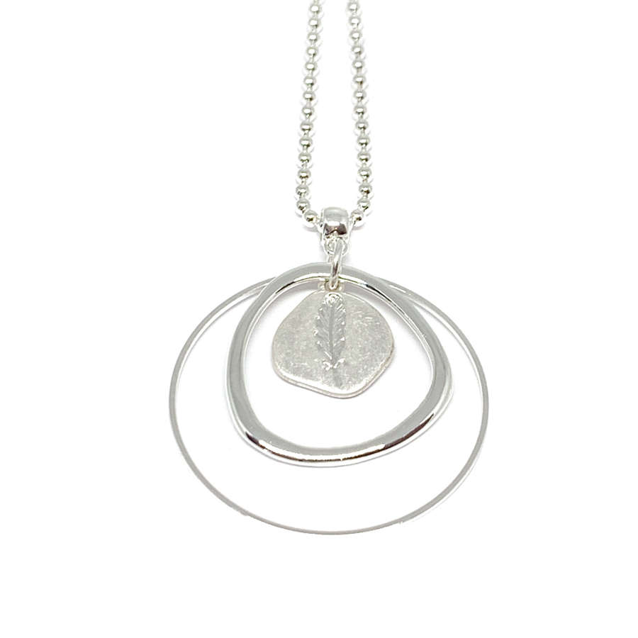 Leah Leaf Long Necklace - Silver