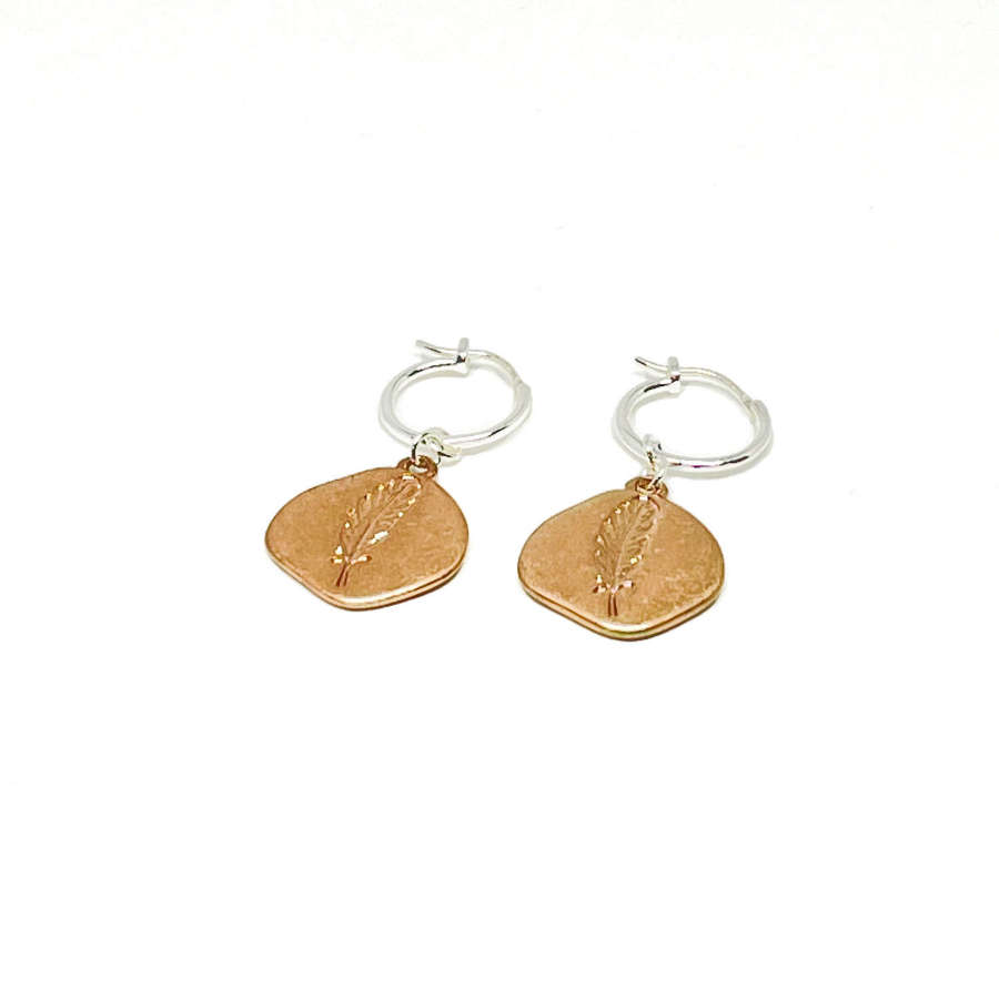 Leah Sterling Silver Leaf Earrings - Rose Gold