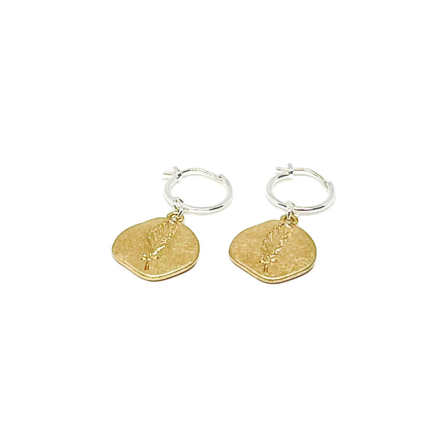 Leah Sterling Silver Leaf Earrings - Gold