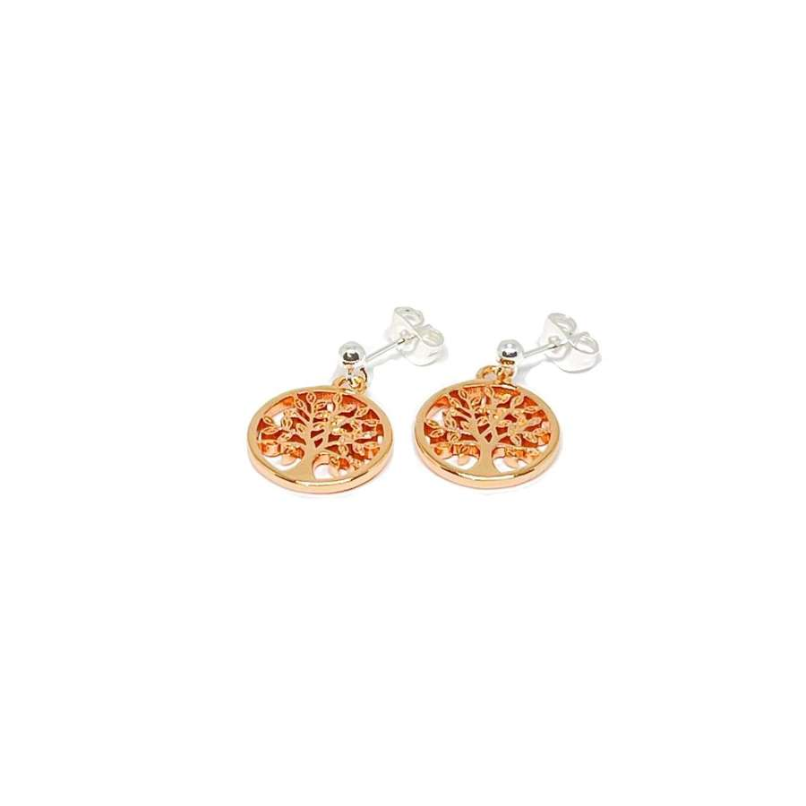 Taylor Sterling Silver Tree Charm Earrings - Rose Gold
