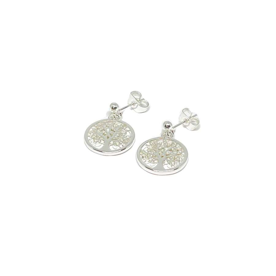 Taylor Sterling Silver Tree Charm Earrings - Silver