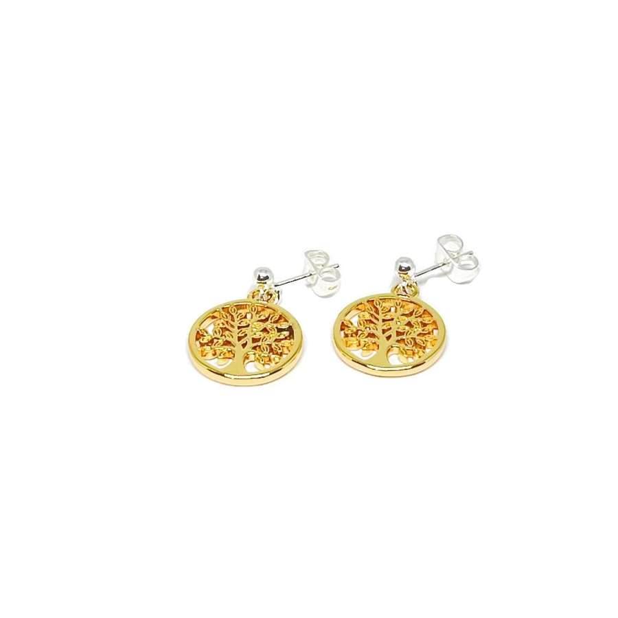 Taylor Sterling Silver Tree Charm Earrings - Gold