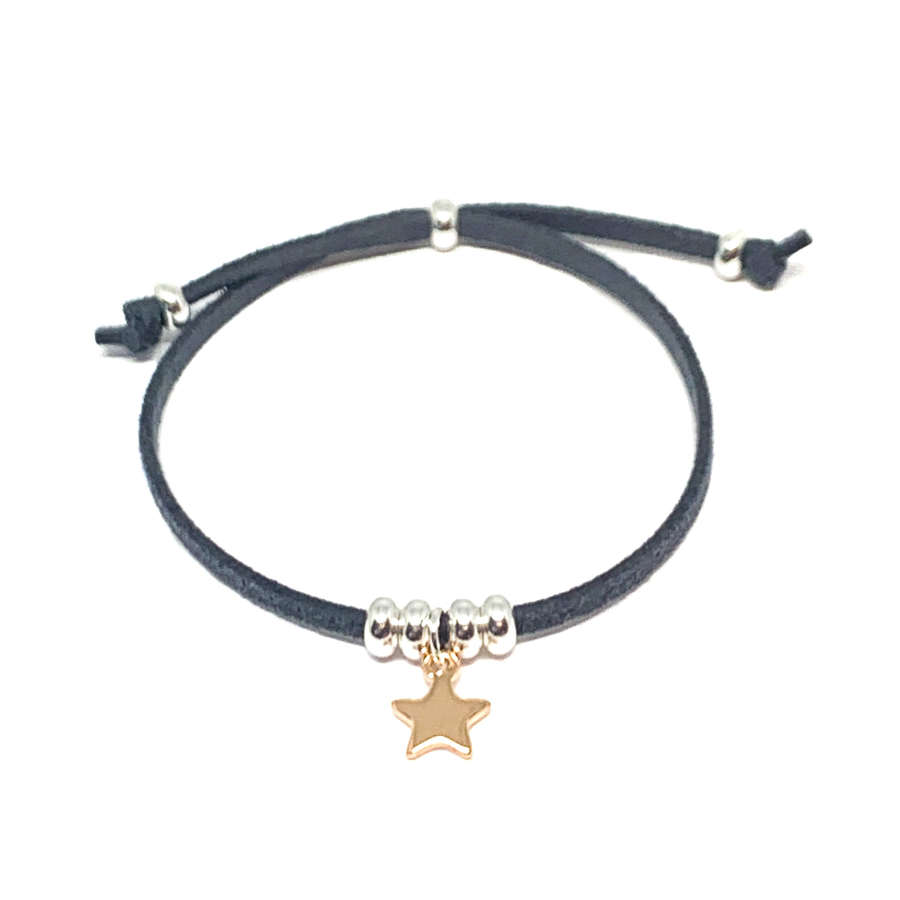 Helena Star Charcoal Bracelet - Rose Gold