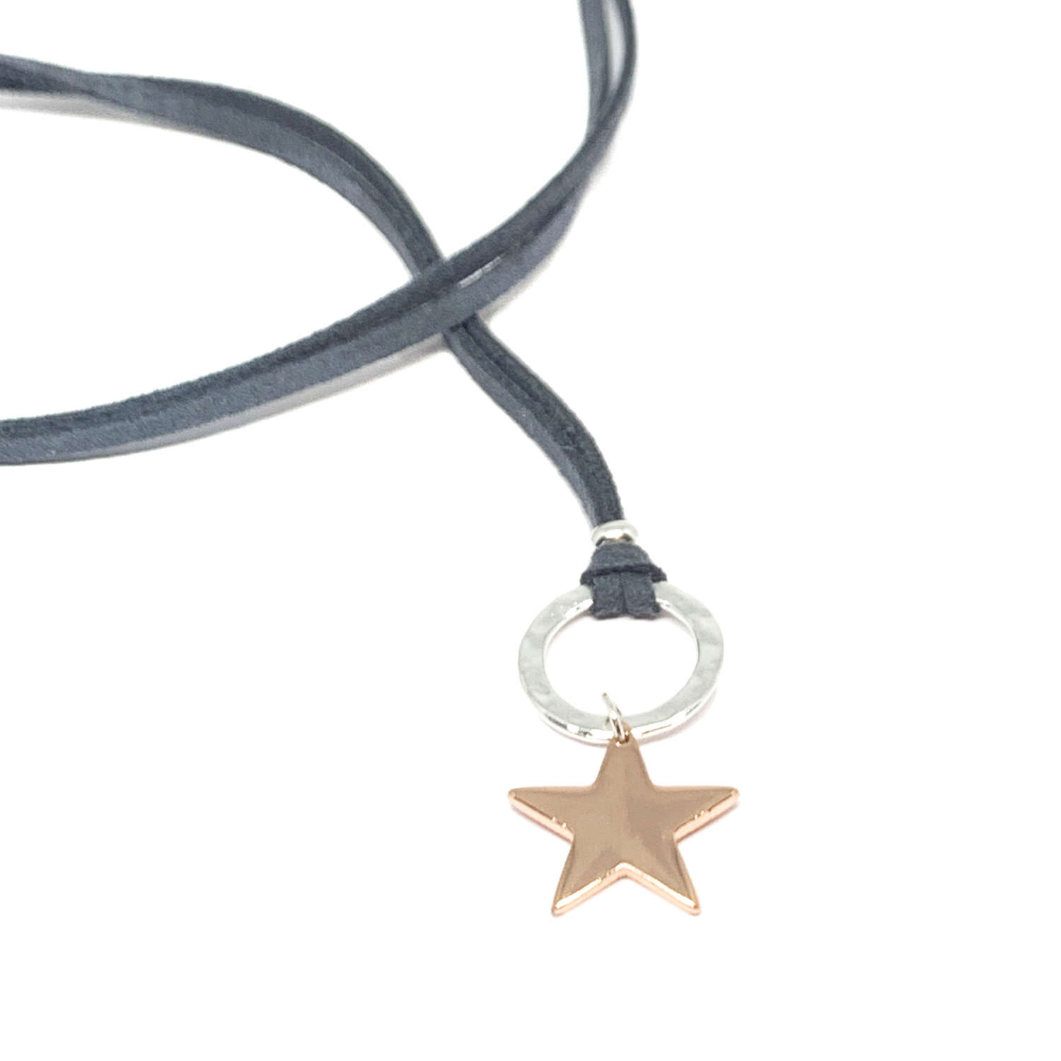 Helena Star Charcoal Necklace - Rose Gold
