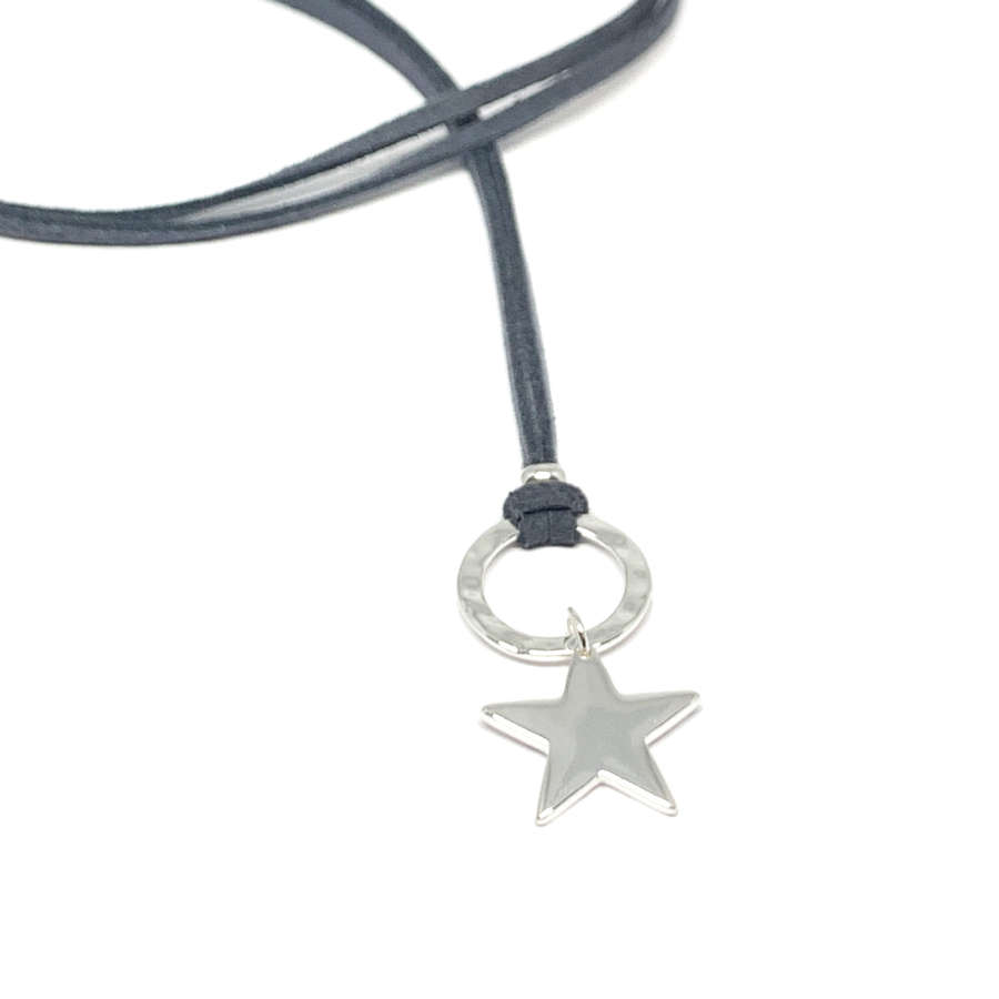 Helena Star Charcoal Necklace - Silver