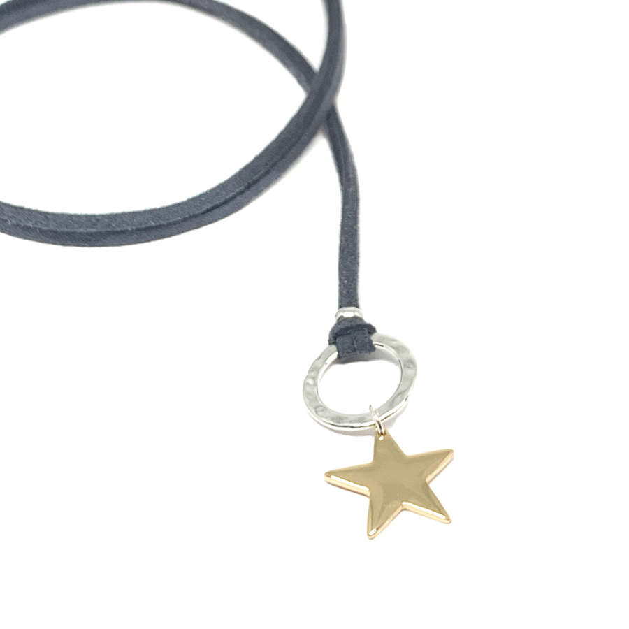 Helena Star Charcoal Necklace - Gold