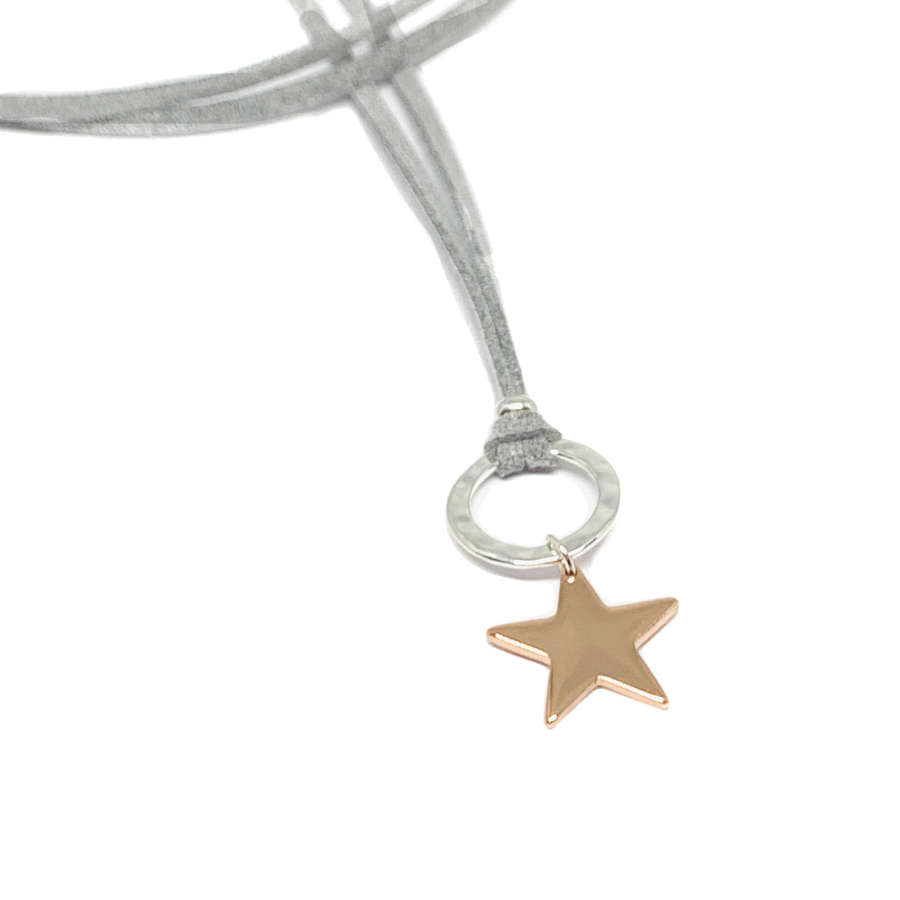 Helena Star Light Grey Cord Necklace - Rose Gold
