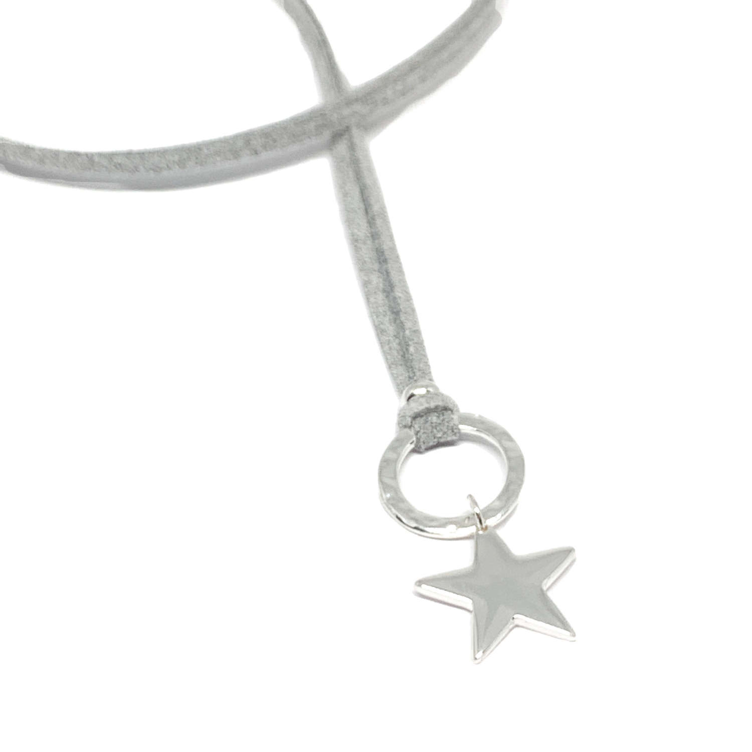 Helena Star Light Grey Cord Necklace - Silver