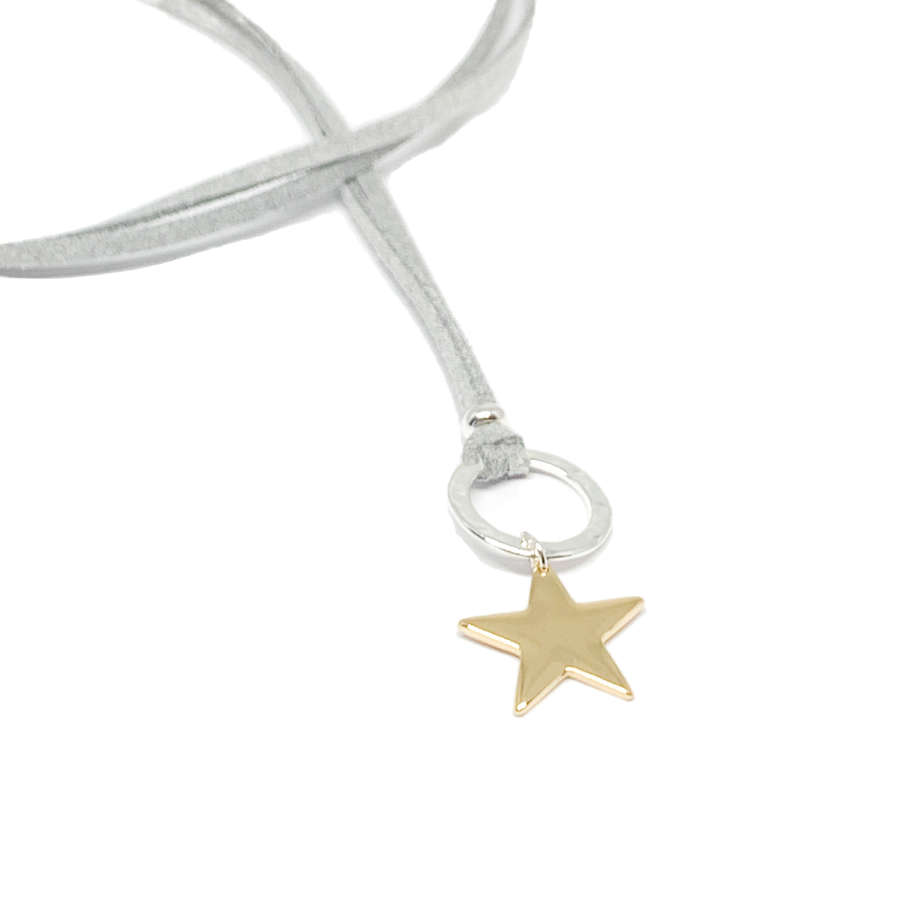 Helena Star Light Grey Cord Necklace - Gold