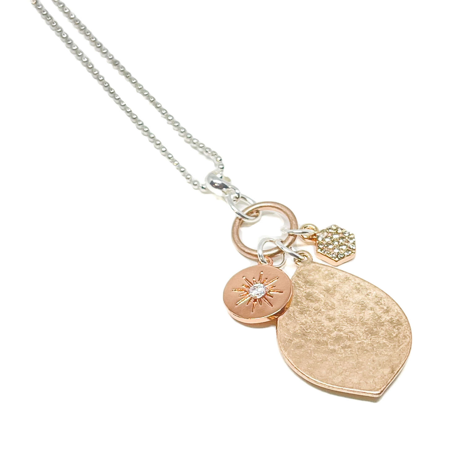 Petra Charm Necklace - Rose Gold