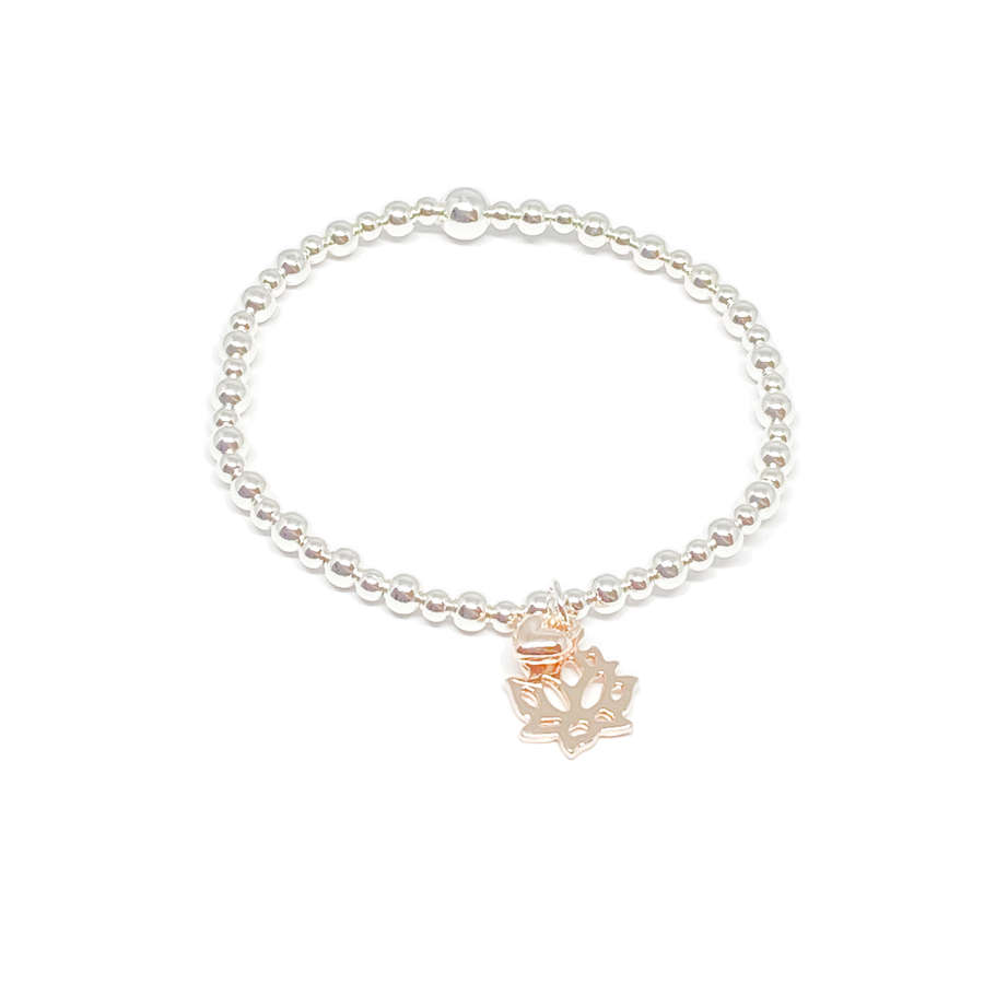 India Lotus Flower Bracelet - Rose Gold