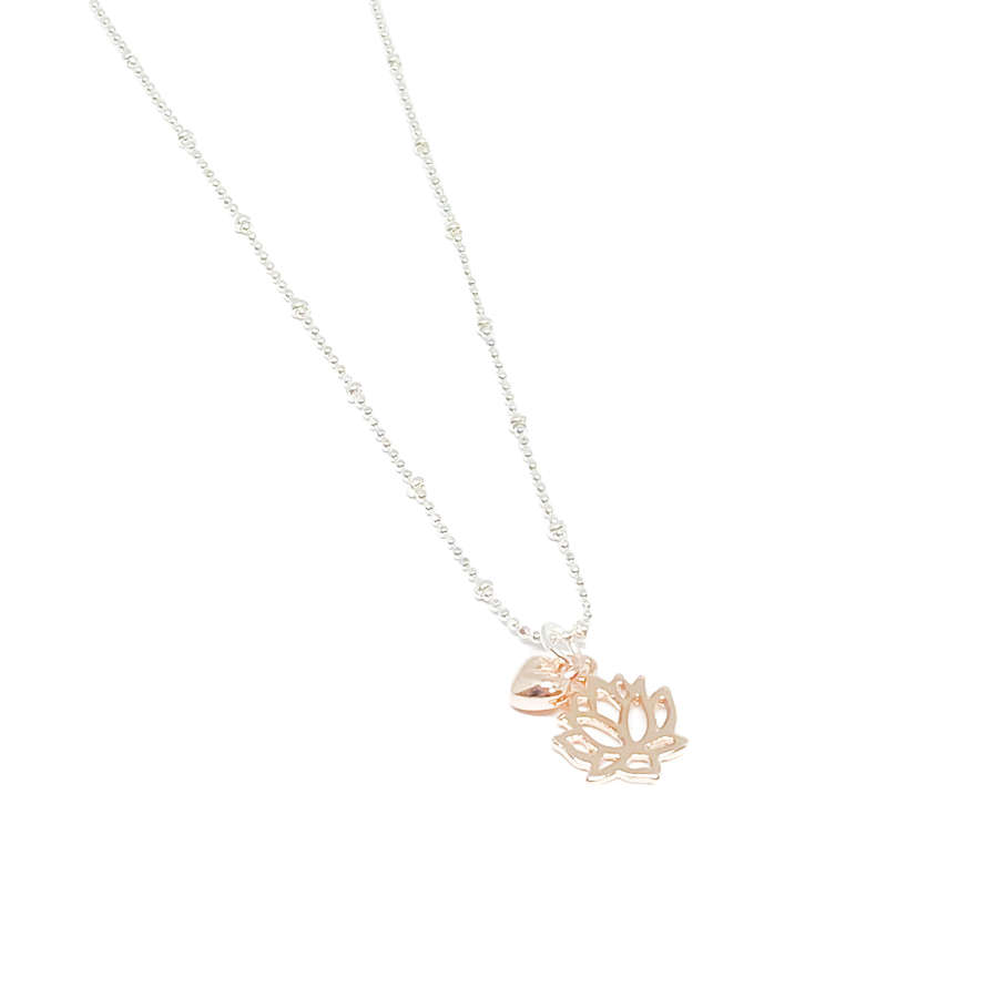 India Lotus Flower Necklace - Rose Gold