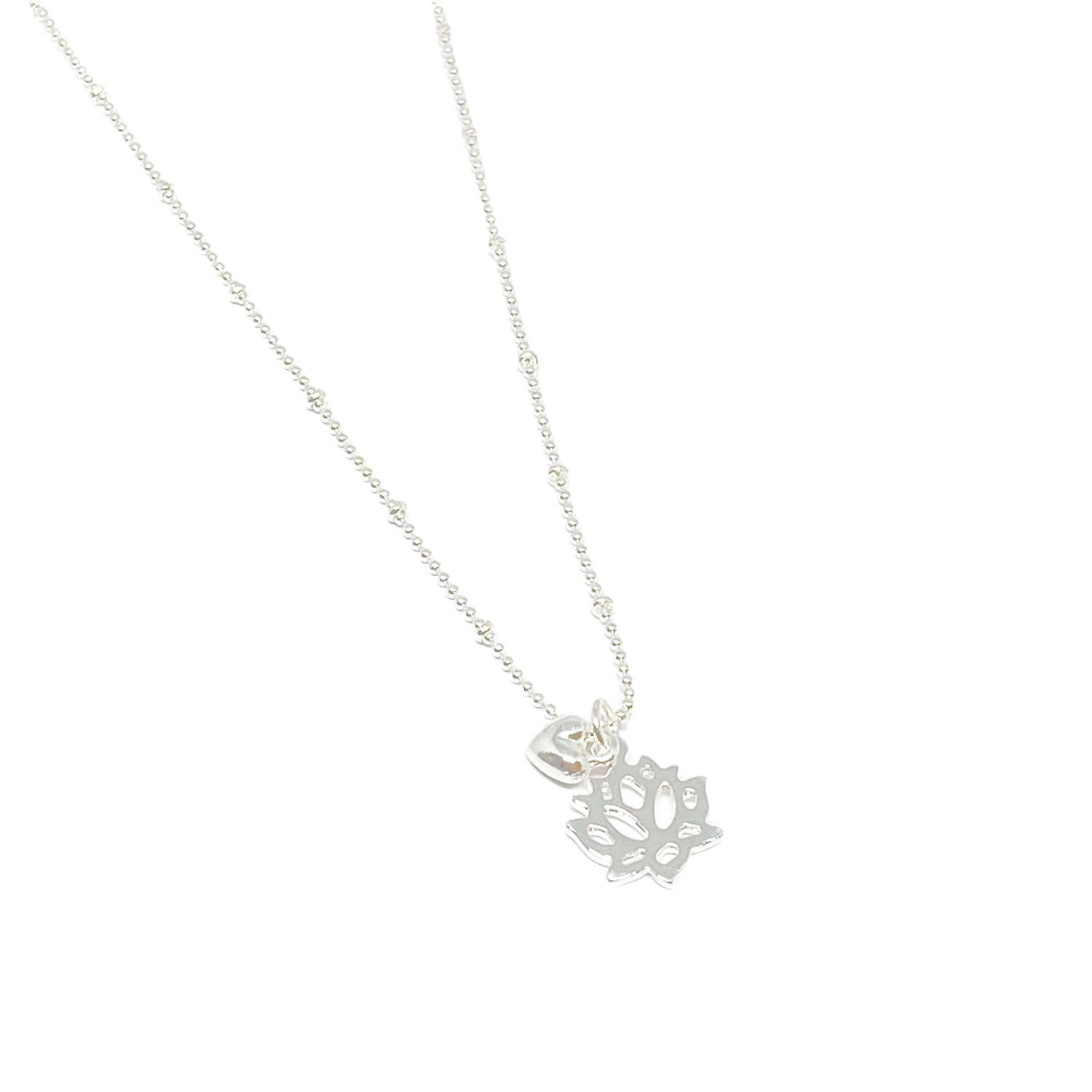 India Lotus Flower Necklace - Silver