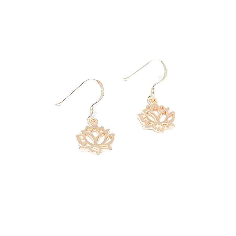 India Lotus Flower Sterling Silver Earrings - Rose Gold