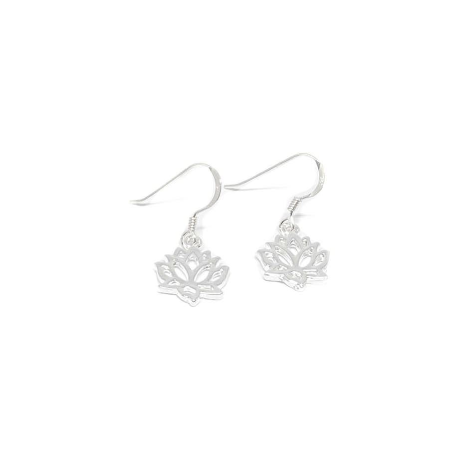 India Lotus Flower Sterling Silver Earrings - Silver