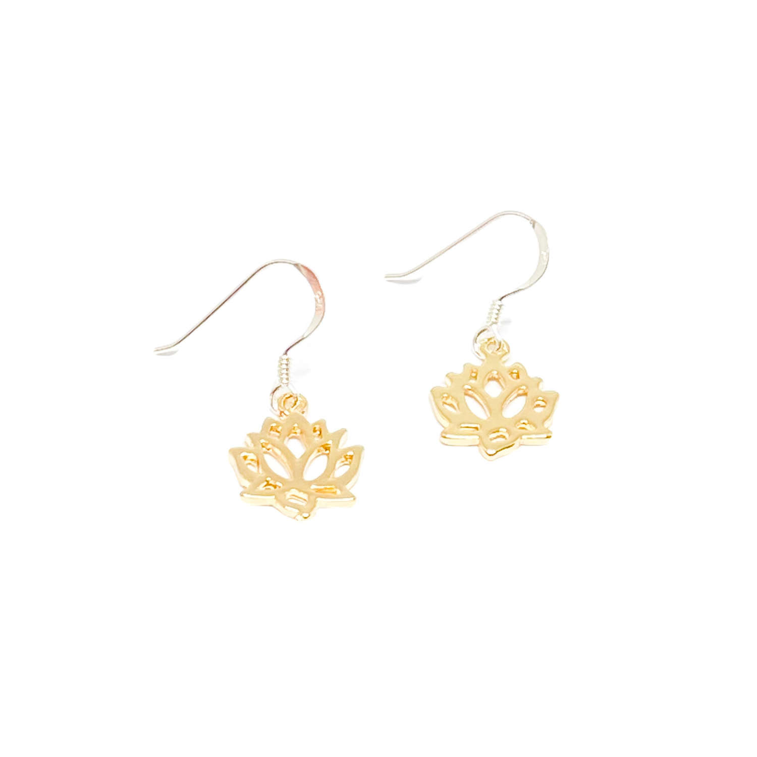 India Lotus Flower Sterling Silver Earrings - Gold