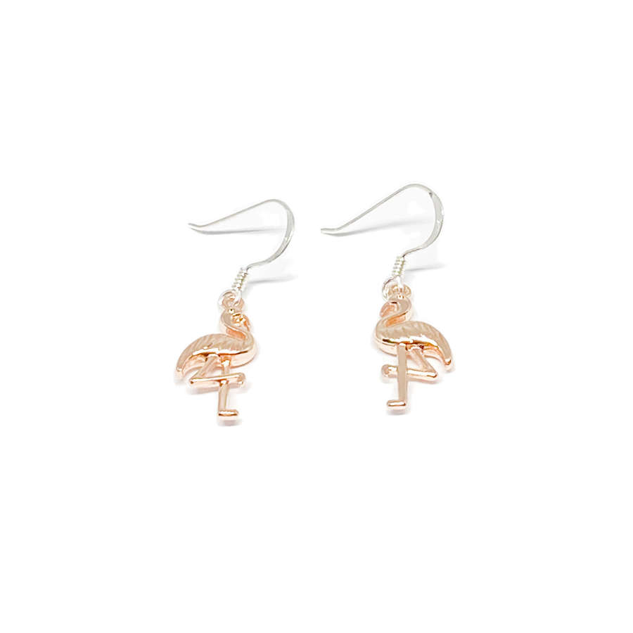 Fifi Sterling Silver Flamingo Earrings - Rose Gold