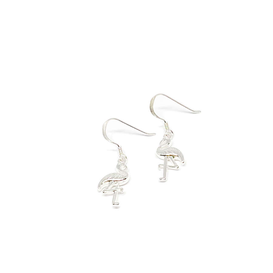 Fifi Sterling Silver Flamingo Earrings - Silver
