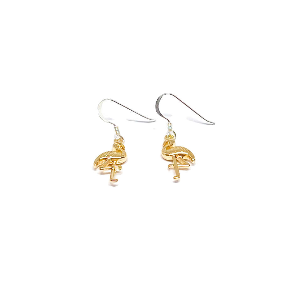 Fifi Sterling Silver Flamingo Earrings - Gold