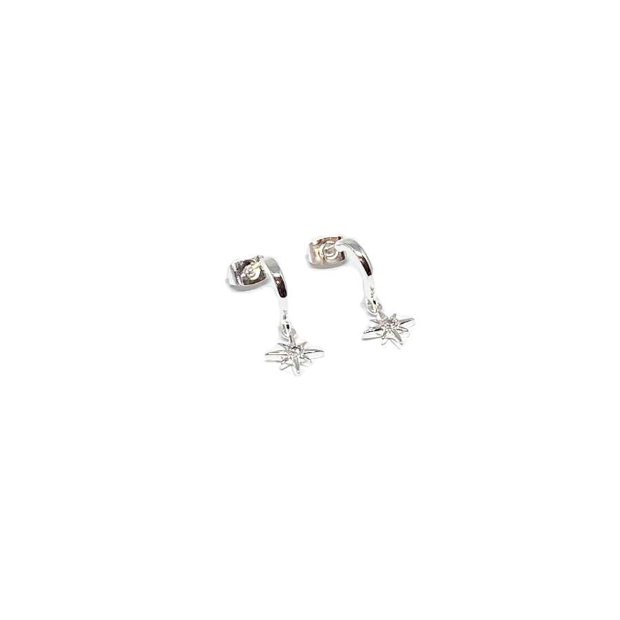 Zuri Star Sterling Silver Stud Earrings - Silver