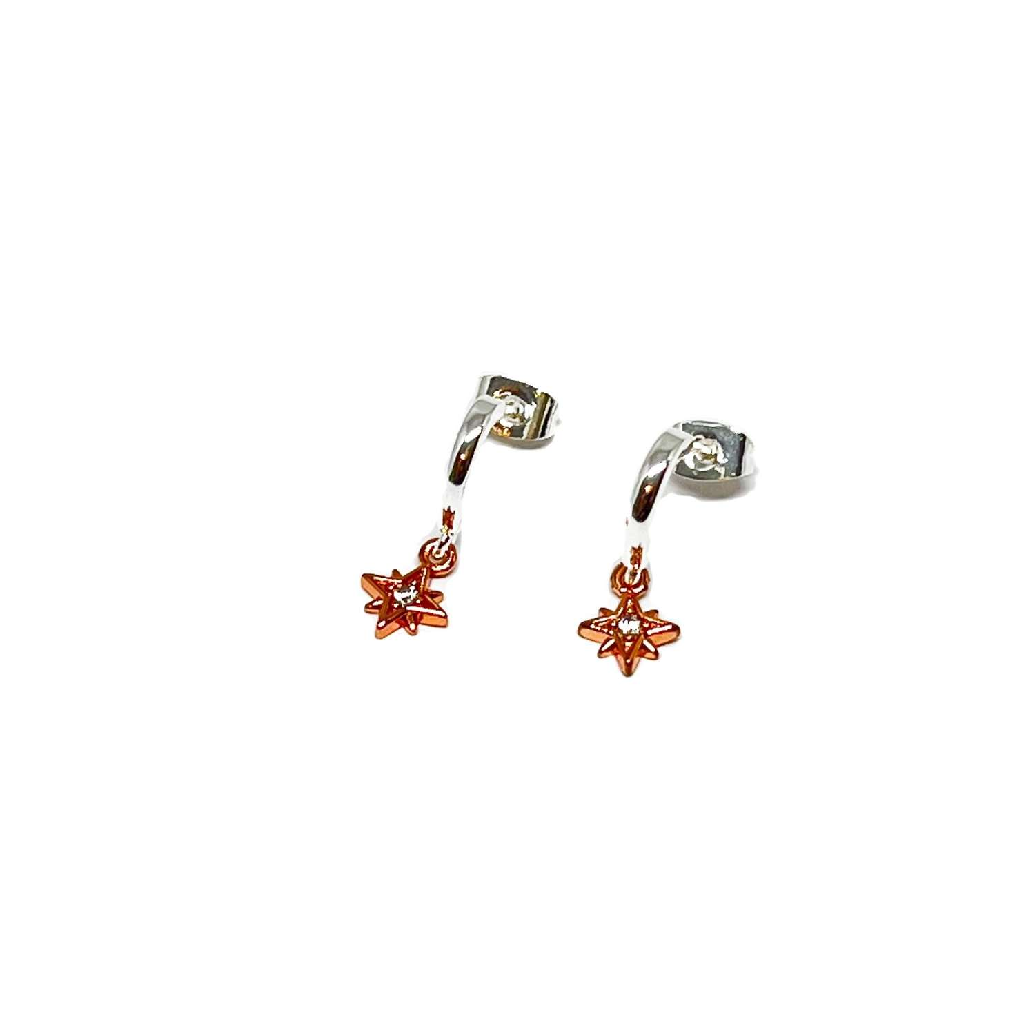 Zuri Star Sterling Silver Earrings - Rose Gold