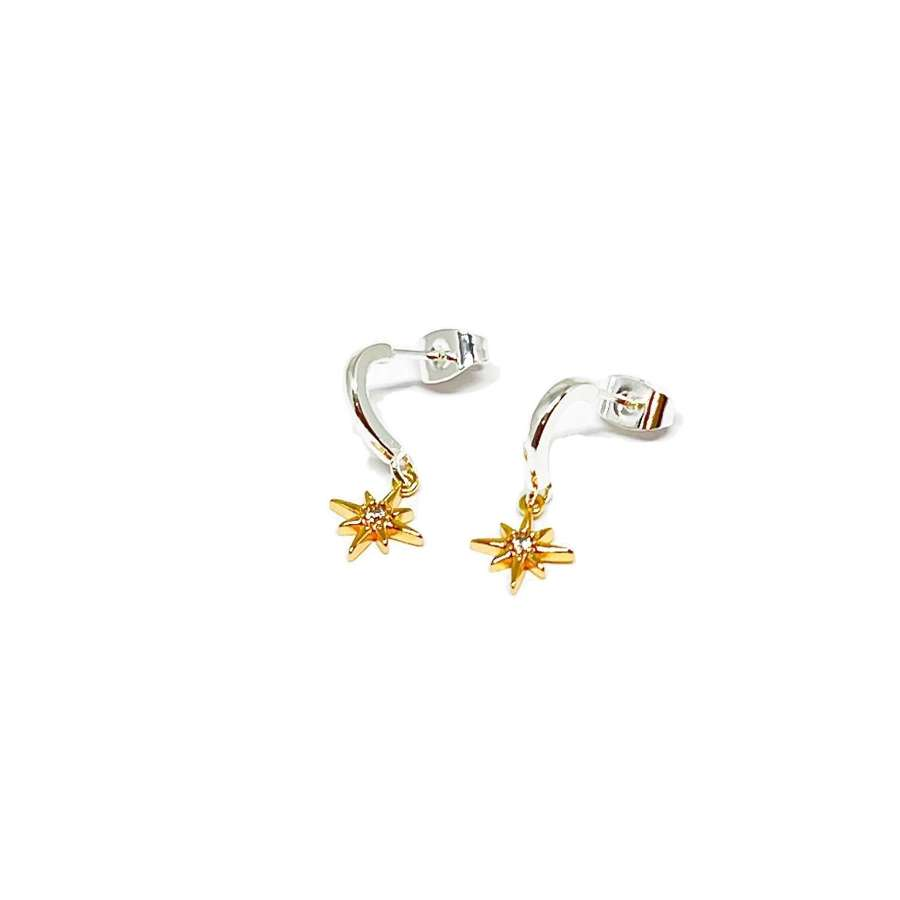 Zuri Star Sterling Silver Earrings - Gold