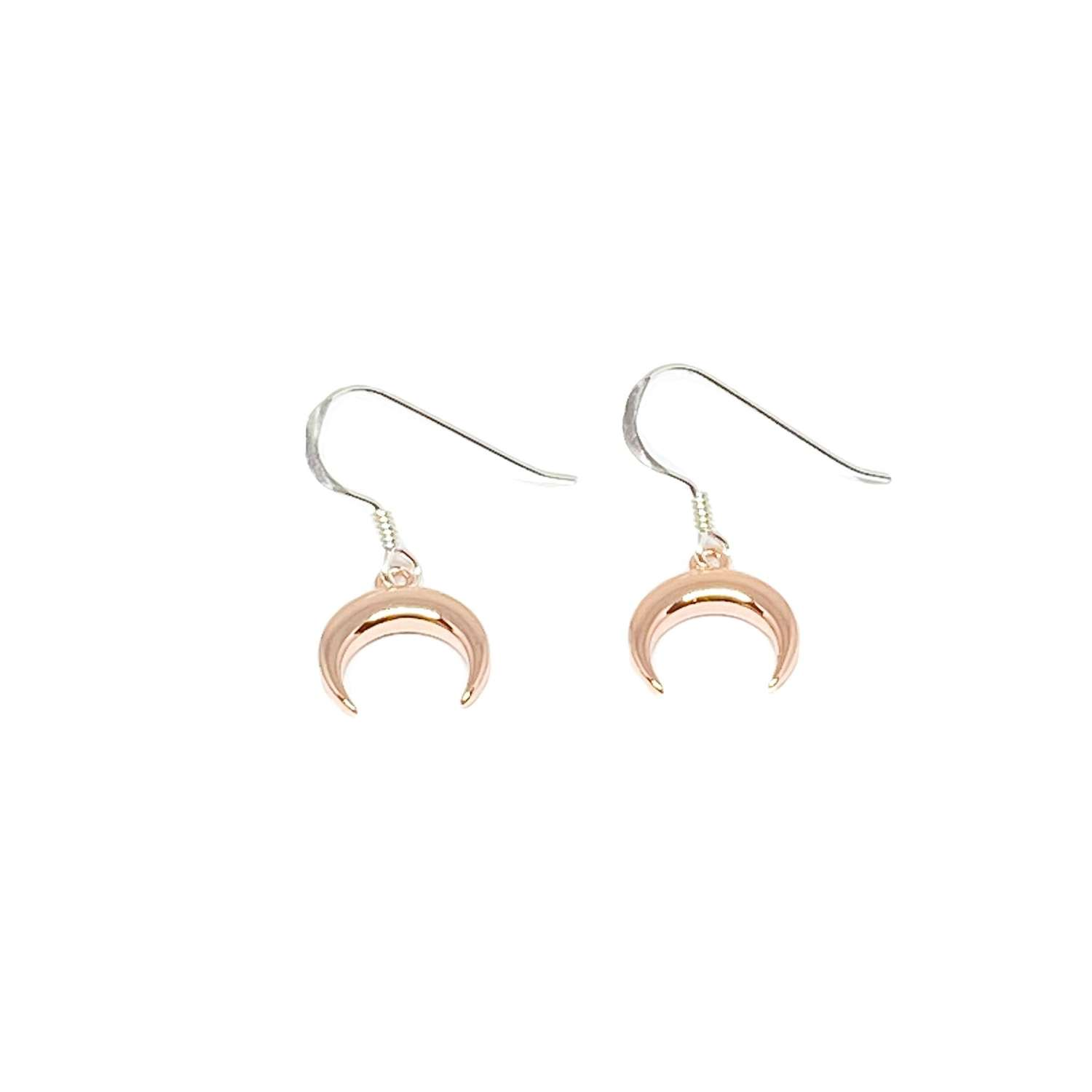 Torah Horn Sterling Silver Earrings - Rose Gold