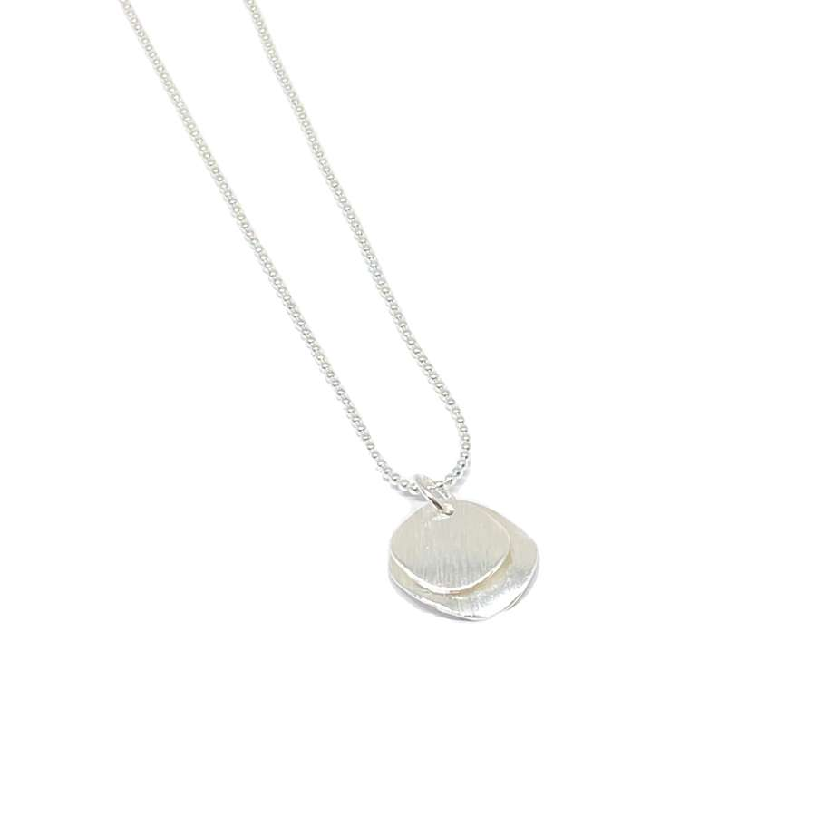 Iris Etched Disc Necklace - Silver