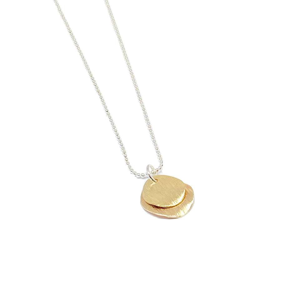 Iris Etched Disc Necklace - Gold