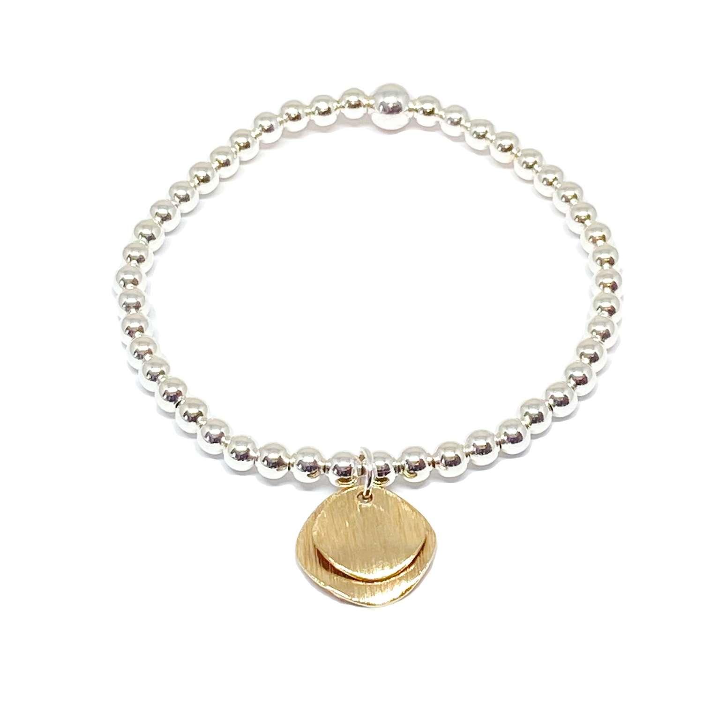 Iris Etched Disc Bracelet - Gold