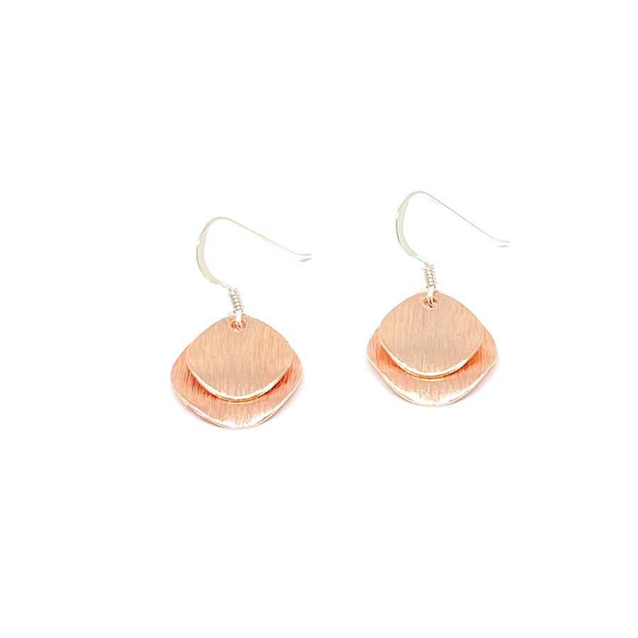 Iris Etched Disc Sterling Silver Earrings - Rose Gold