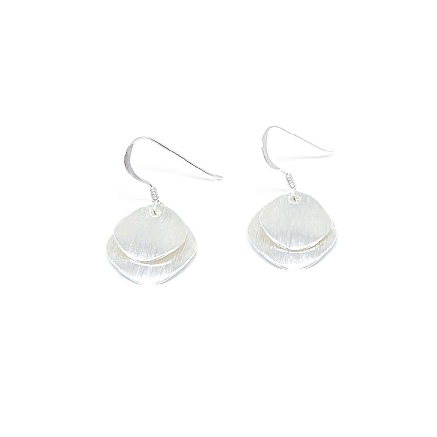Iris Etched Disc Sterling Silver Earrings - Silver