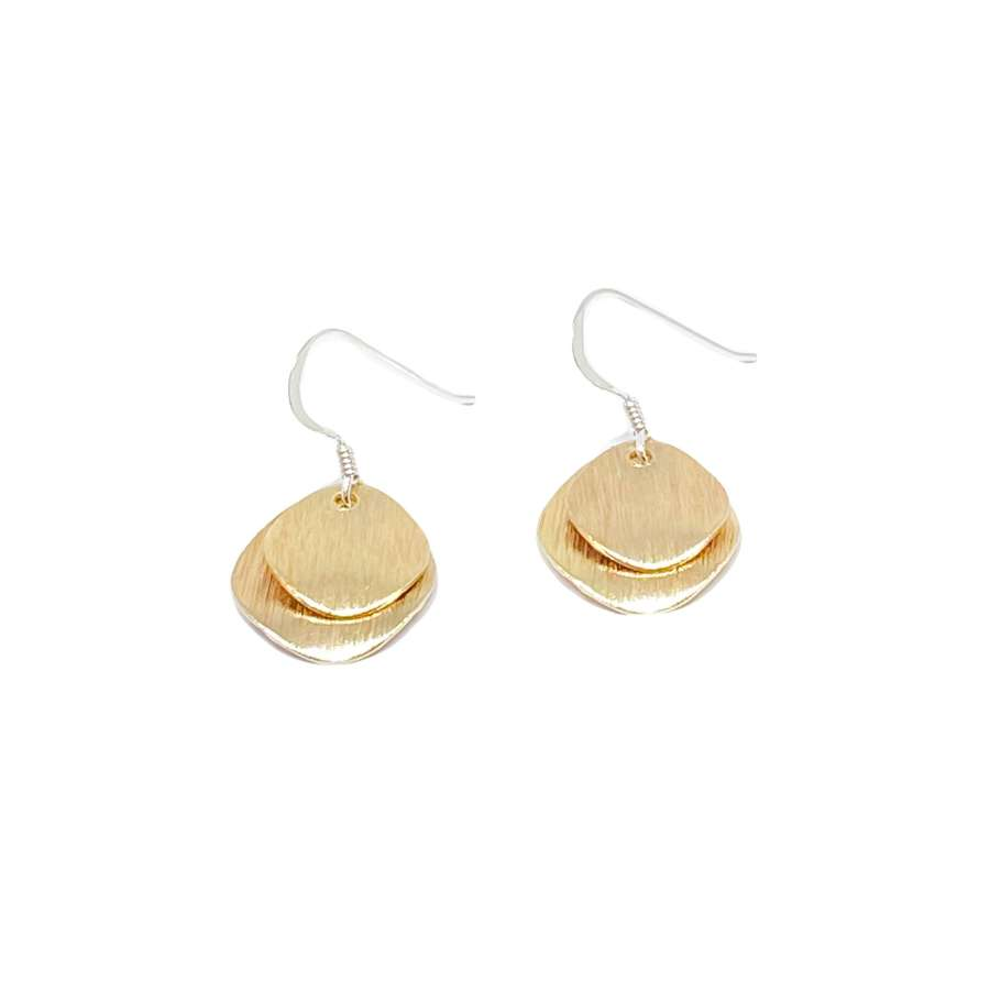 Iris Etched Disc Sterling Silver Earrings - Gold