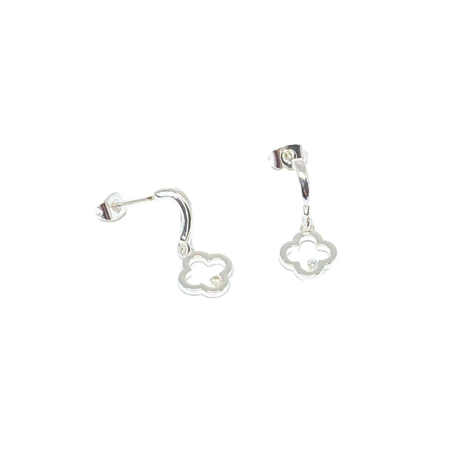 Fleur Sterling Silver Stud Earrings - Silver