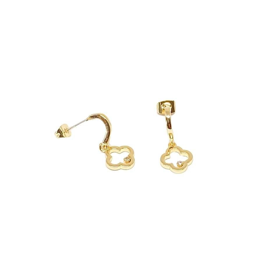 Fleur Sterling Silver Studs Earrings - Gold