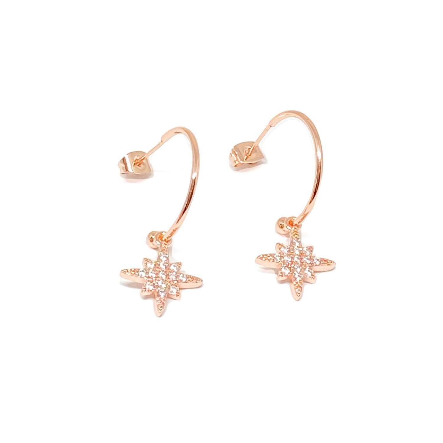 Krista Sterling Silver Hoop Earrings - Rose Gold