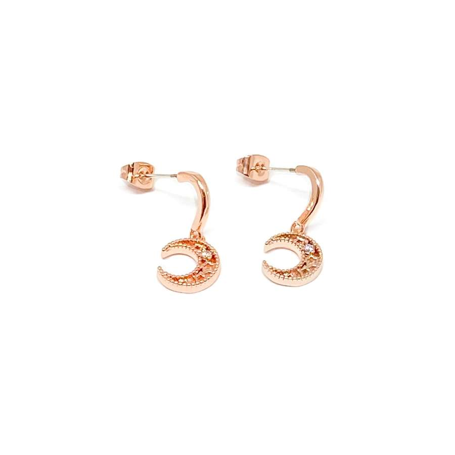 Luna Moon Sterling Silver Stud Earrings - Rose Gold