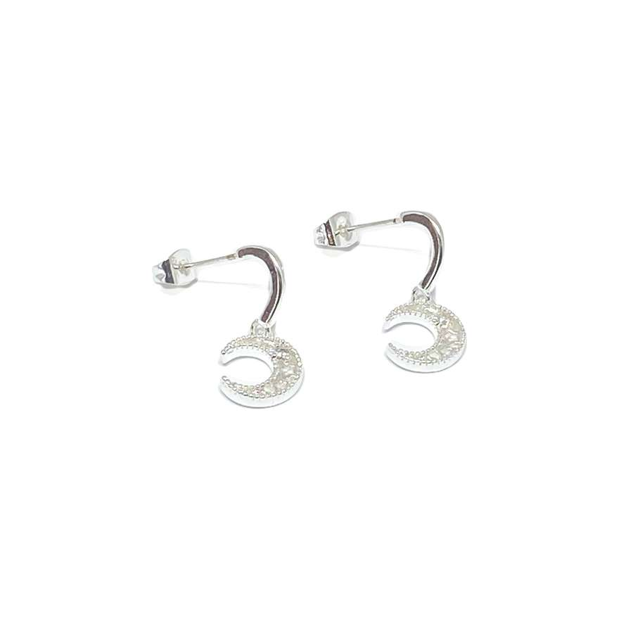 Luna Moon Sterling Silver Stud Earrings - Silver