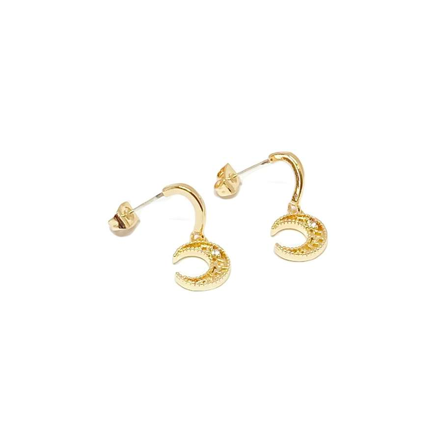 Luna Moon Sterling Silver Stud Earrings - Gold